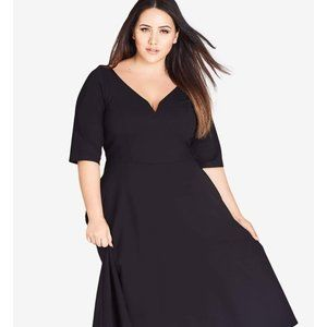 City Chic Black dress Elbow length sleeves…